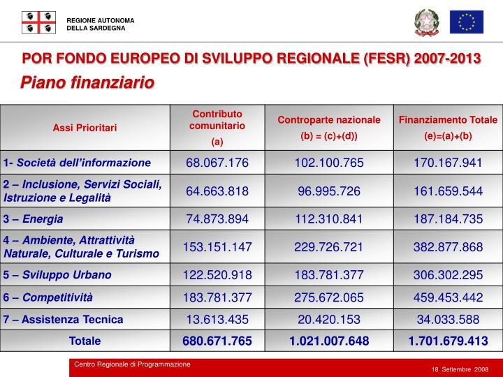POR FONDO EUROPEO DI SVILUPPO REGIONALE (FESR) 2007-2013