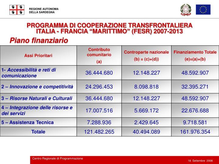 PROGRAMMA DI COOPERAZIONE TRANSFRONTALIERA