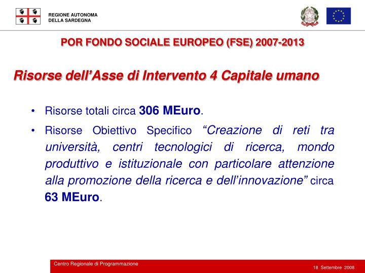 POR FONDO SOCIALE EUROPEO (FSE) 2007-2013