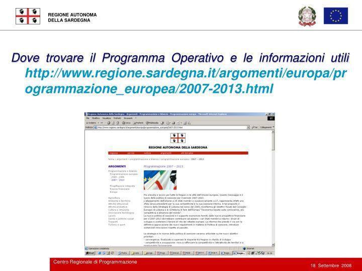 Dove trovare il Programma Operativo e le informazioni utili