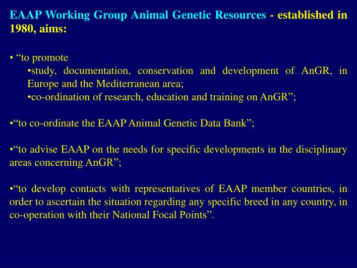 EAAP Working Group Animal Genetic Resources