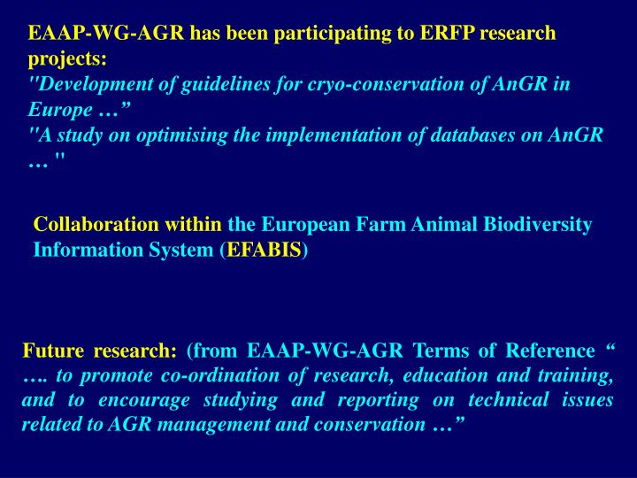 EAAP-WG-AGR has been participating to ERFP research projects:
