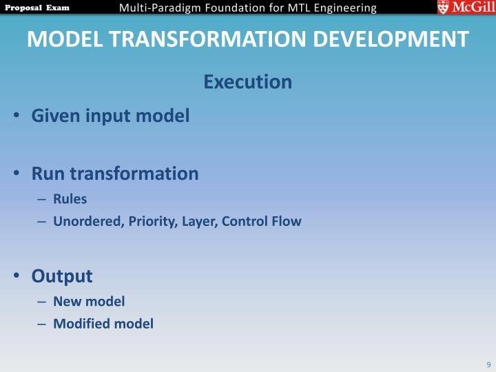 Model Transformation Development