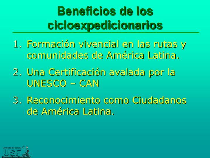 Beneficios de los cicloexpedicionarios