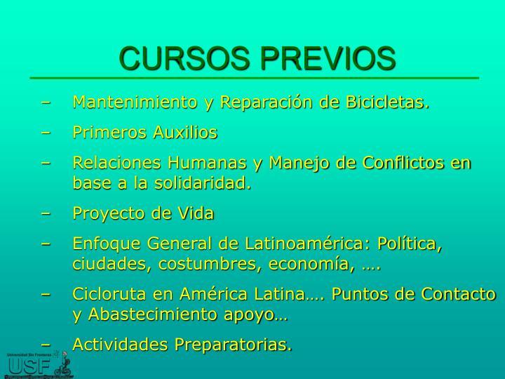CURSOS PREVIOS