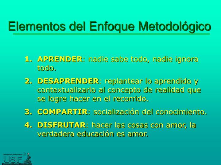 Elementos del Enfoque Metodológico