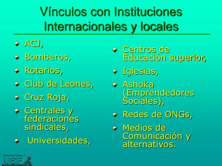 Vínculos con Instituciones Internacionales y locales