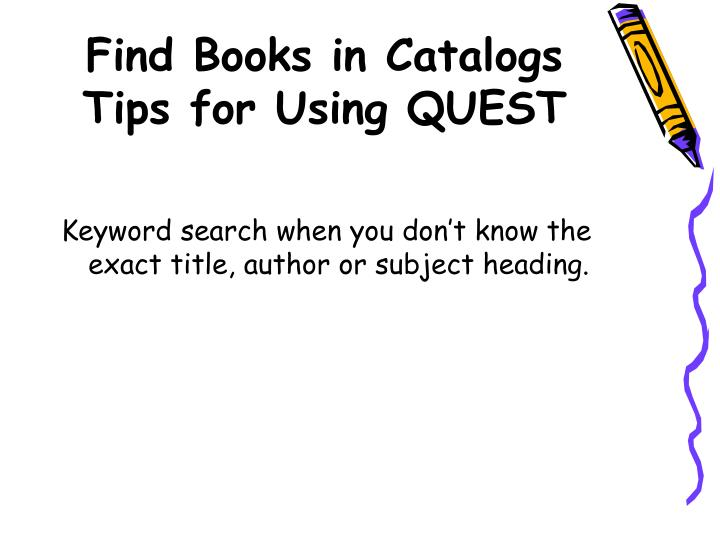 Find Books in Catalogs