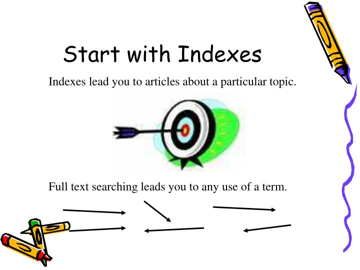 Indexes lead you to articles about a particular topic.