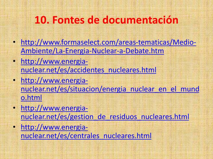 10. Fontes de documentación