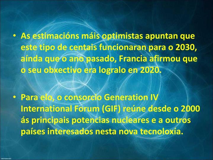 As estimacións máis optimistas apuntan que este tipo de centais funcionaran para o 2030, aínda que o ano pasado, Francia afirmou que o seu obxectivo era logralo en 2020.