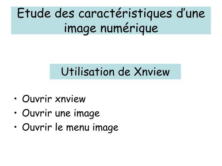 Etude des caractéristiques d'une image numérique