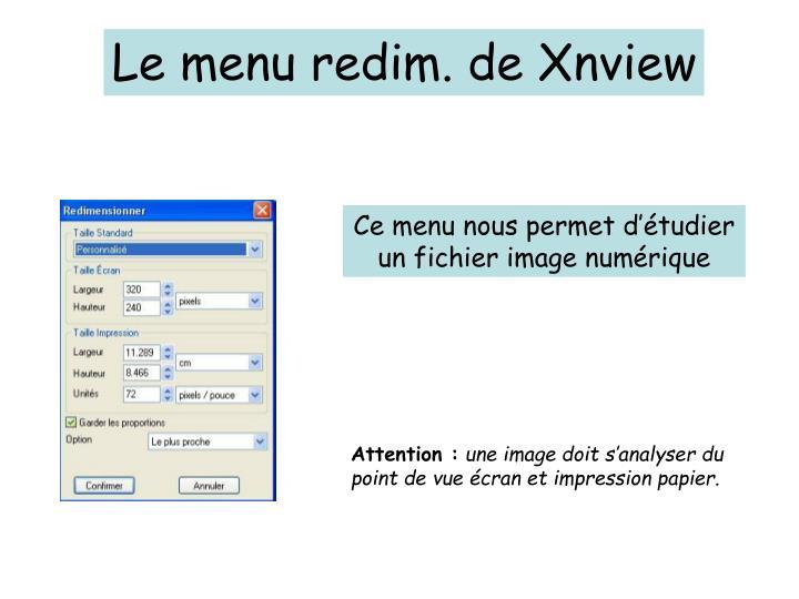 Le menu redim. de Xnview