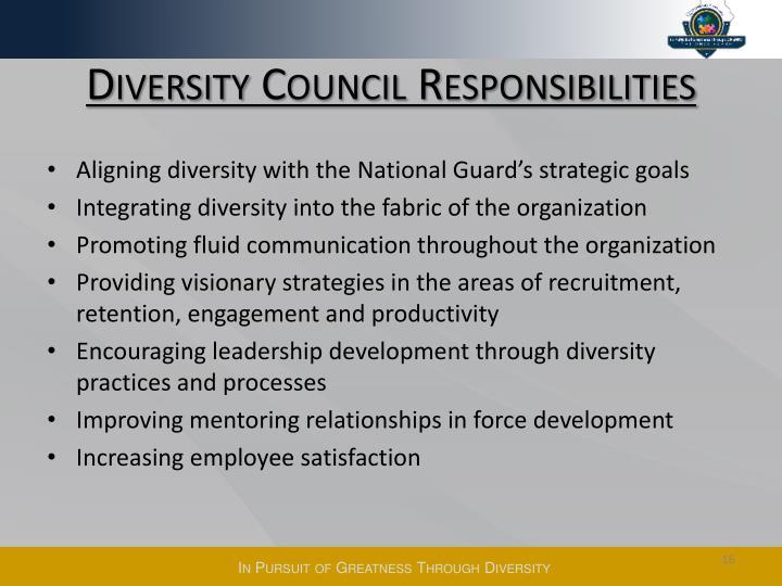 Diversity Council Responsibilities