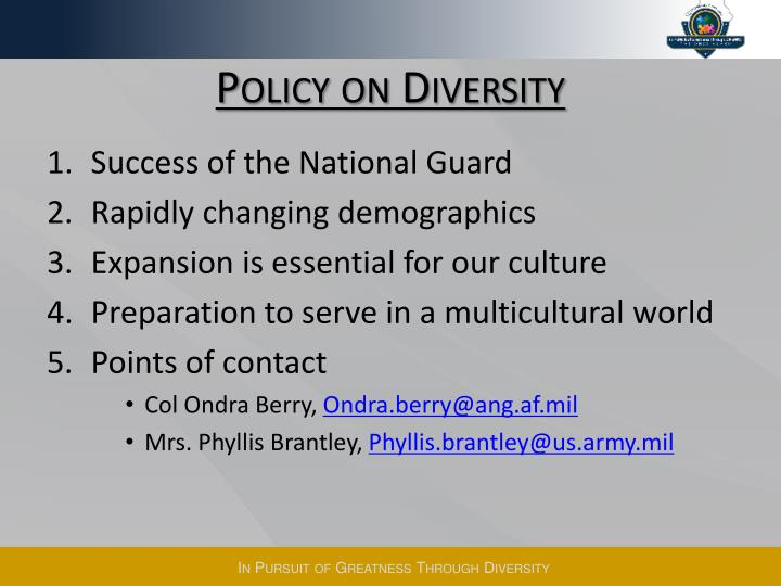Policy on Diversity