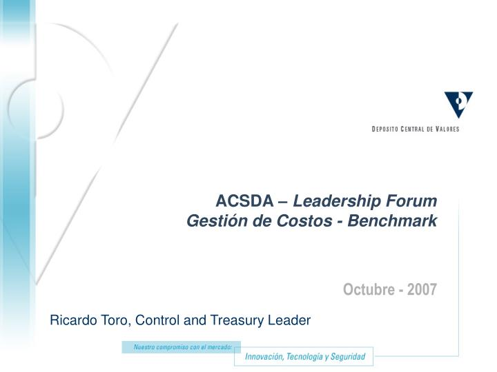 Acsda leadership forum gesti n de costos benchmark