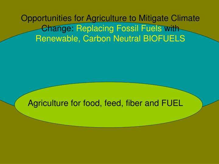 Opportunities for Agriculture to Mitigate Climate Change: