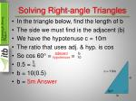 solving right angle triangles