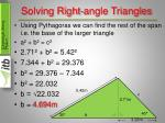 solving right angle triangles9