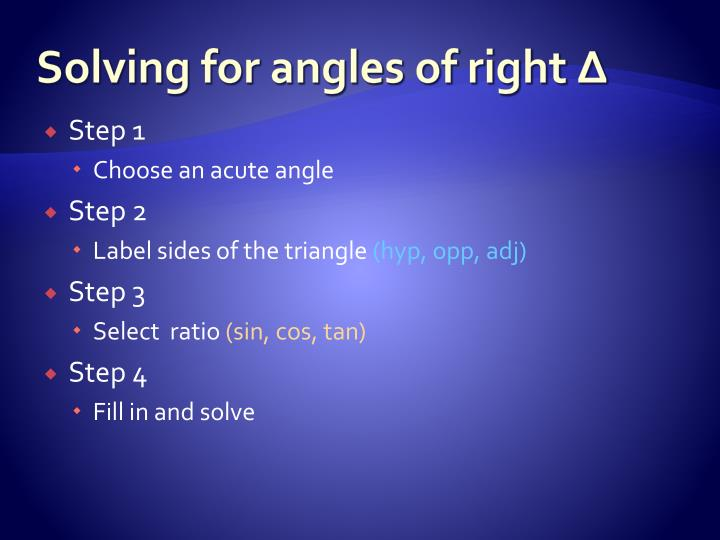 Solving for angles of right ∆