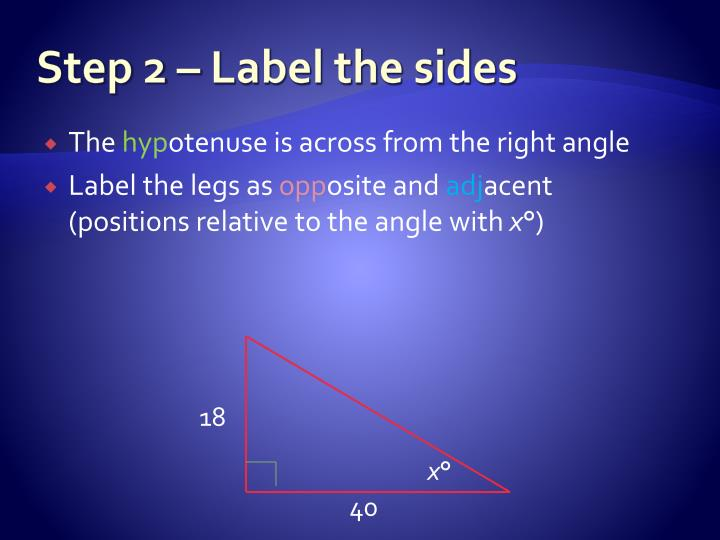 Step 2 – Label the sides