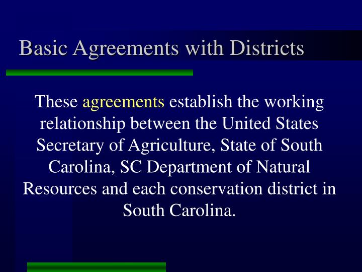 Basic agreements with districts
