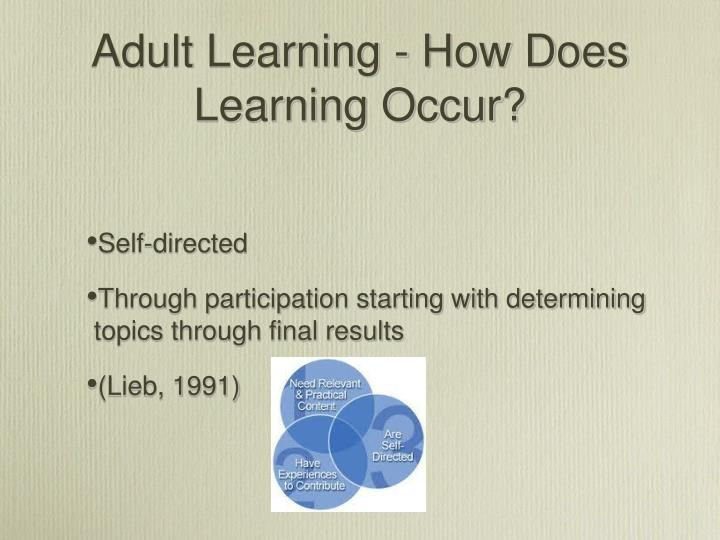 Adult Learning - How Does Learning Occur?