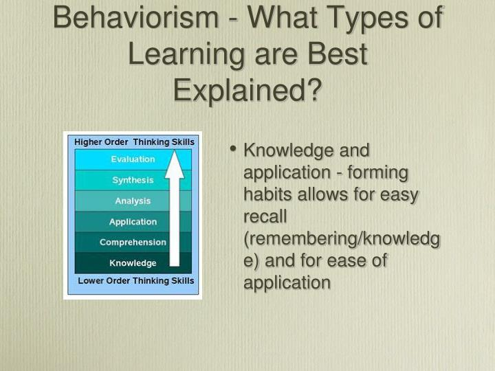 Behaviorism - What Types of Learning are Best Explained?