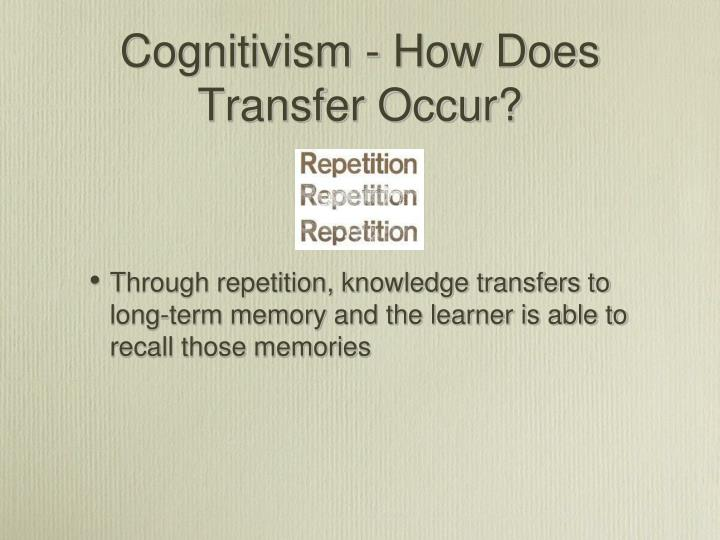 Cognitivism - How Does Transfer Occur?