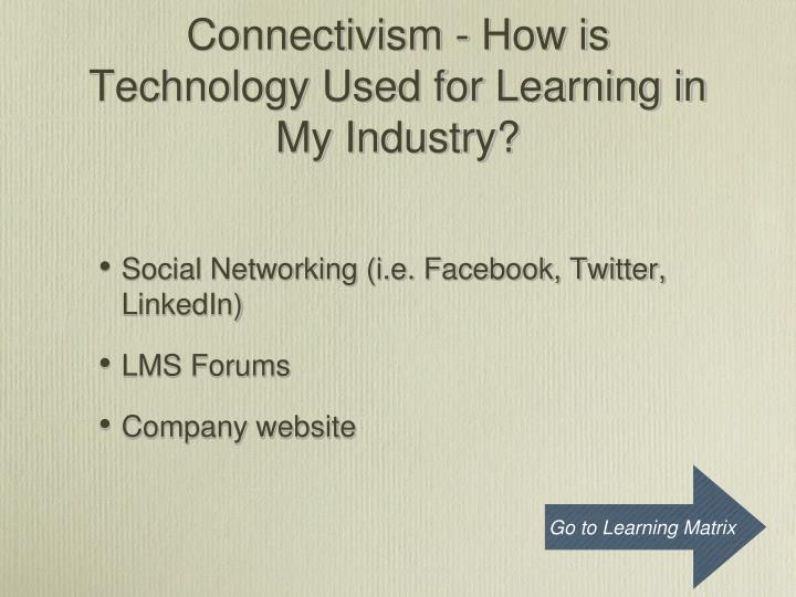 Connectivism - How is Technology Used for Learning in My Industry?