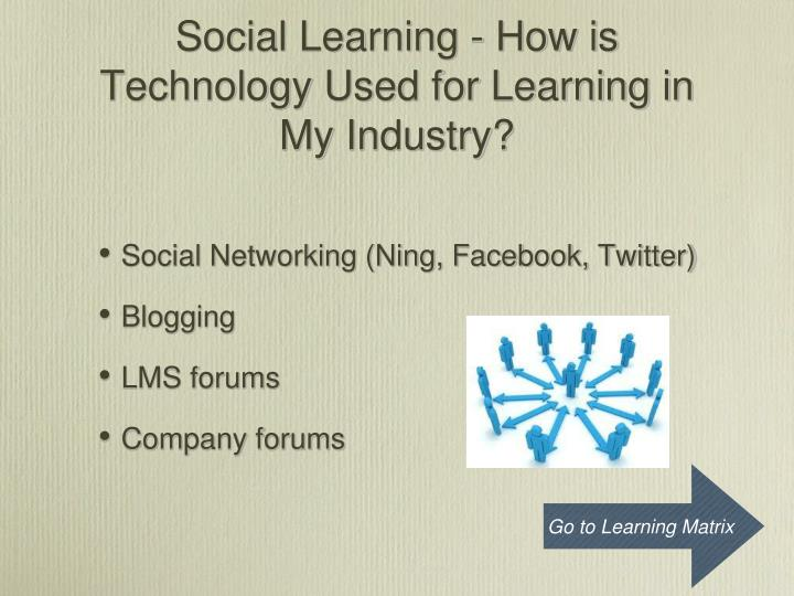 Social Learning - How is Technology Used for Learning in My Industry?