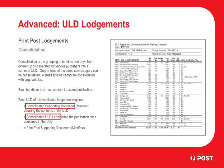 Advanced: ULD Lodgements