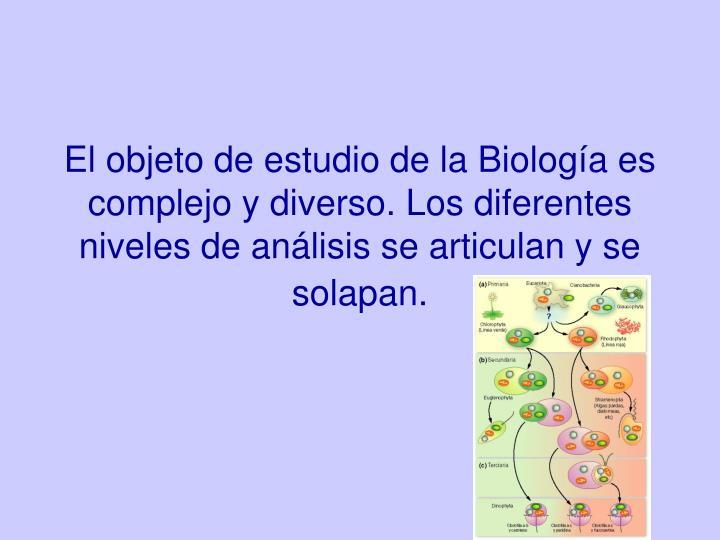 El objeto de estudio de la Biología es complejo y diverso. Los diferentes niveles de análisis se articulan y se solapan.