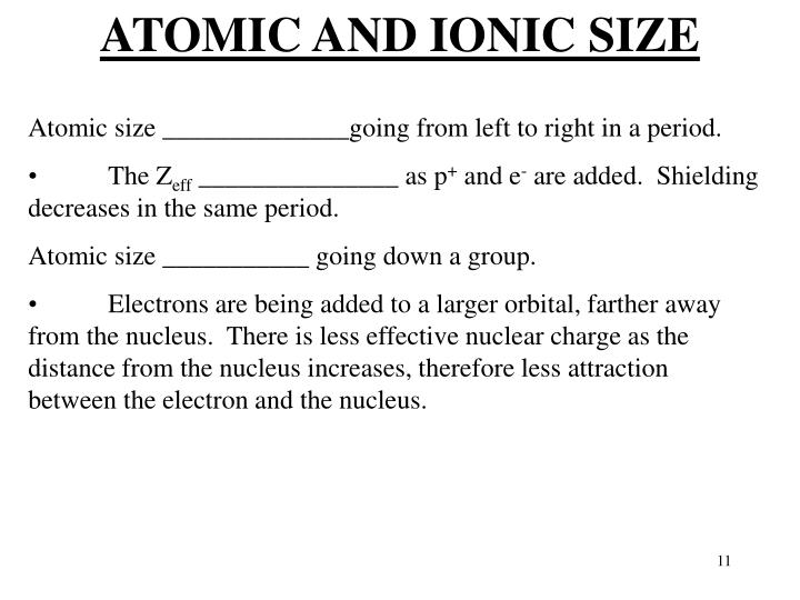 ATOMIC AND IONIC SIZE