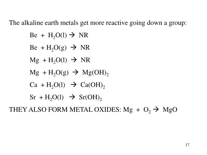 The alkaline earth metals get more reactive going down a group: