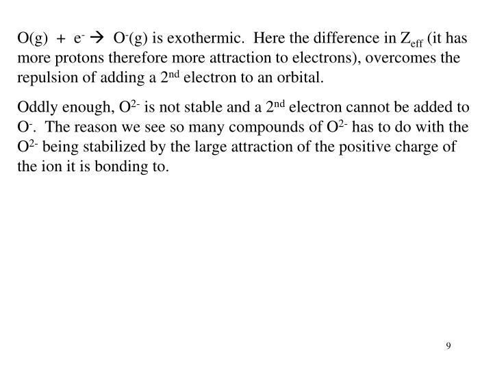 O(g)  +  e
