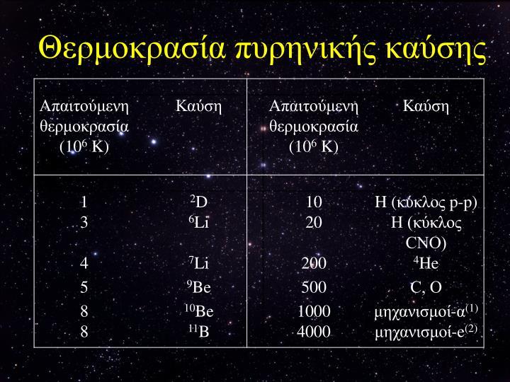 Θερμοκρασία πυρηνικής καύσης