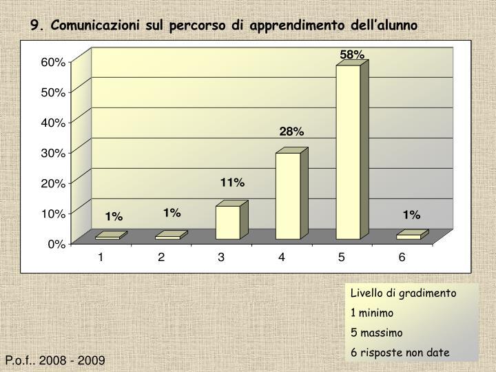 9. Comunicazioni sul percorso di apprendimento dell'alunno