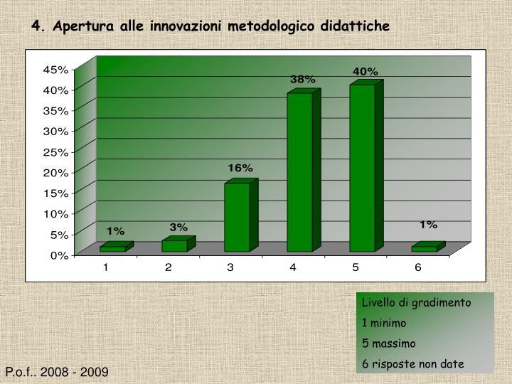 4. Apertura alle innovazioni metodologico didattiche