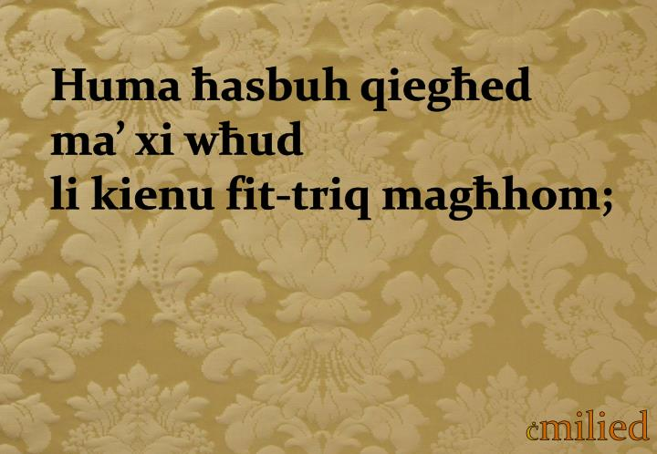 Huma ħasbuh qiegħed