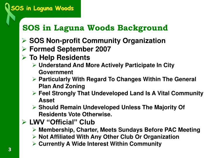 Sos in laguna woods background