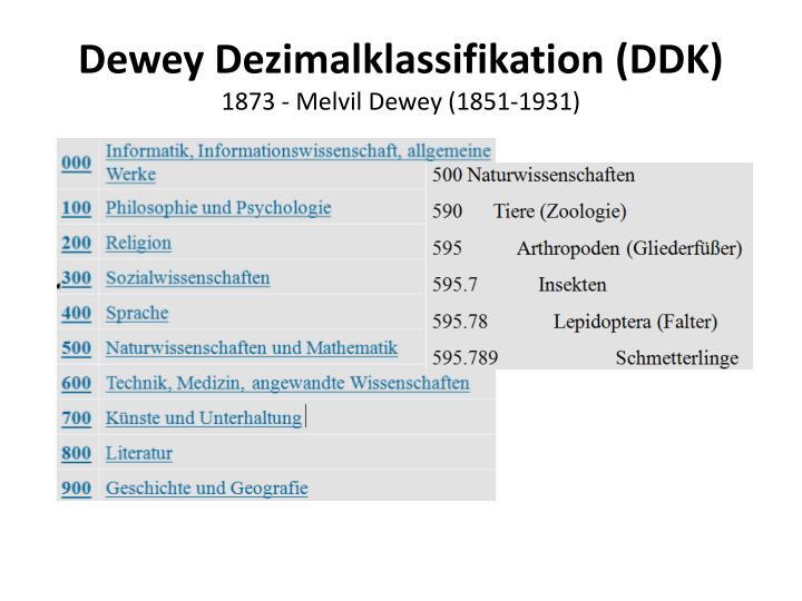 Dewey Dezimalklassifikation (DDK)