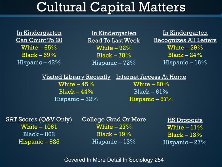 Cultural Capital Matters
