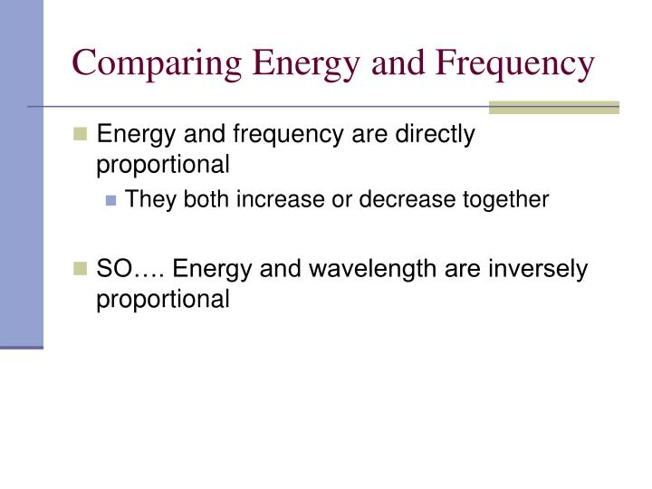 Comparing Energy and Frequency