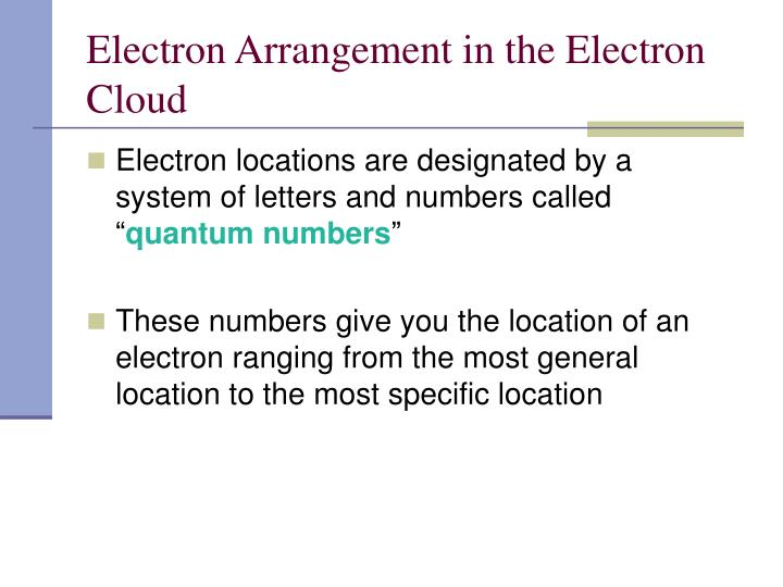 Electron Arrangement in the Electron Cloud