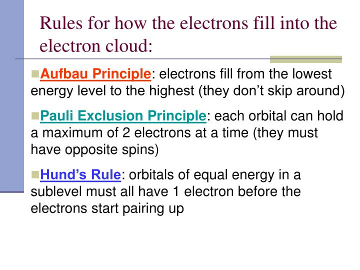 Rules for how the electrons fill into the electron cloud: