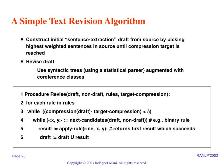 A Simple Text Revision Algorithm