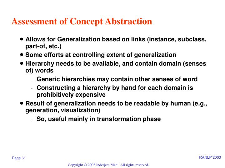 Assessment of Concept Abstraction