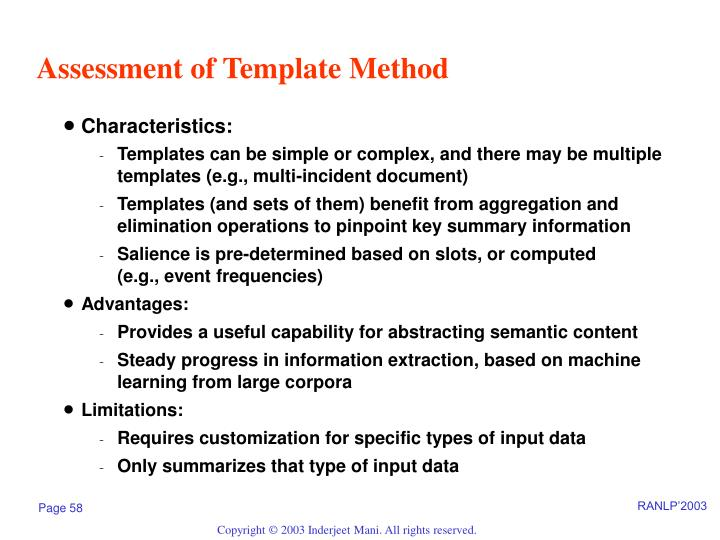 Assessment of Template Method