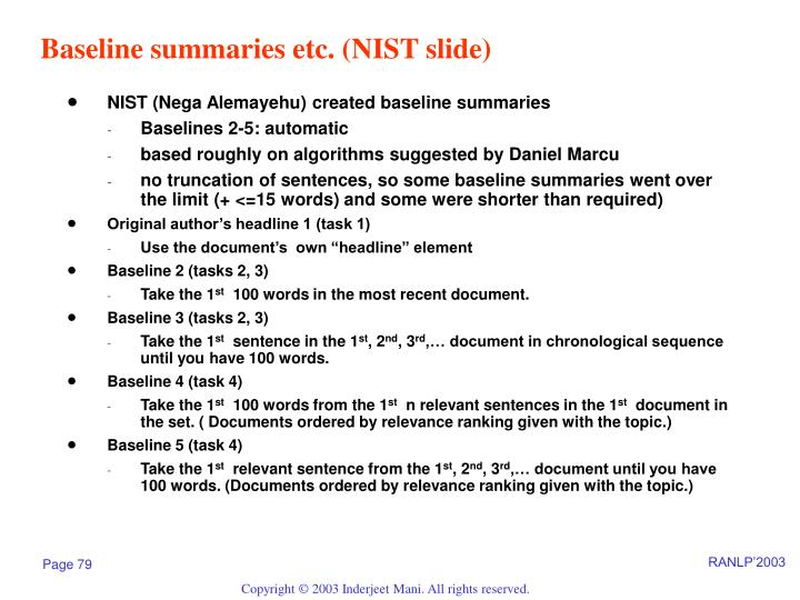 Baseline summaries etc. (NIST slide)